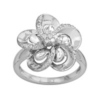 Sterling Silver 1/4-ct. T.W. Diamond Flower Ring (White)