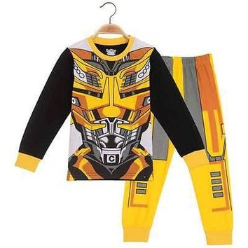 2016 Baby Kids Toddler Boys Pajamas Cartoon Character Long Sleeve Snug Outfit Clothes T-shirt Costume Party Set 1-6Y