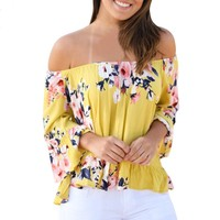 Off Shoulder Flare Sleeve Blouse Shirt Yellow Spandex Cotton Tops