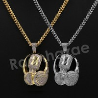 "14K Pt Gold Round Microphone Fiend Pendant W/5mm 24"" 30"" Cuban Chain"
