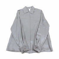 Grey Silk Shirt - Button Down Oxford Satin Minimal Blouse 90s Grunge Goth - Women's Size Large Lrg L