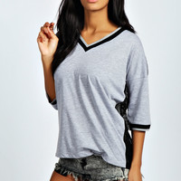 Morgan Mesh Back V Neck Baseball Tee