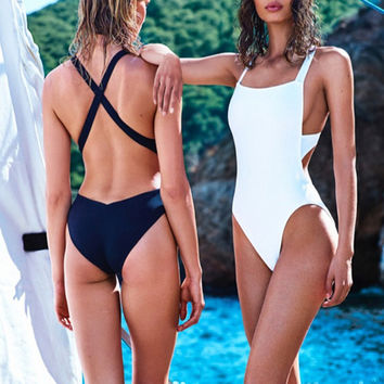Backless Criss Cross One Piece Swimsuit