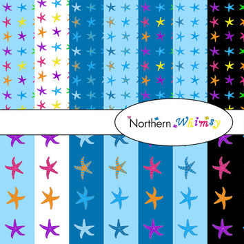 Digital Scrapbooking Paper Background Set – Sea theme starfish patterns12x12 sheets on blue , white , and black backgrounds INSTANT DOWNLOAD