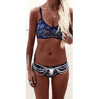 "Boho Bikini ""Kiss The Sky"" Blue Floral Print Swimsuit Sizes Small Medium Large Or Extra Large"