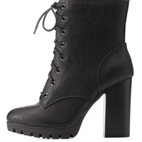 Black Lug Sole Combat Booties by Charlotte Russe