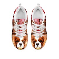 Cute Cavalier King Charles Spaniel Print Sneakers For Women- Free Shipping-For 24 Hours Only