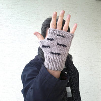 Knitted mens mitten, mens gloves in taube brown with, Winter 2013, mens fashion, gift for husband, valentines, gift for him