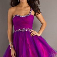 Short One Shoulder Prom Dress by Dave & Johnny