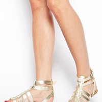 New Look Helios Gold Gladiator Flat Sandals