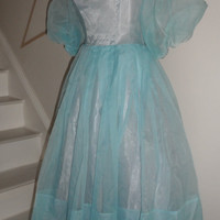 1950s blue aqua  pastel party dress metal zipper small extra small     party  prom wedding  dress up