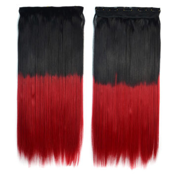 Dyed Long Straight Hair Extension Gradient Ramp Wig    black to bright red