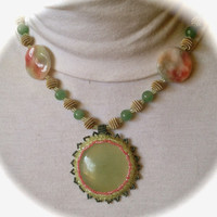 Aventurine , Jade, Silver Tone,Necklace, Pink and Green Coin Beads, Gift for Women, Spring, Peaceful, Prosperity,