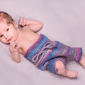 Diaper cover in gray wool, soft soaker, gray striped panties, bloomers, newborn photoprop