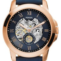 Men's Fossil 'Grant' Automatic Leather Strap Watch, 44mm - Navy Blue/ Rose Gold