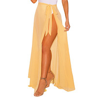 Yellow Sheer Wrap Maxi Beach Skirt