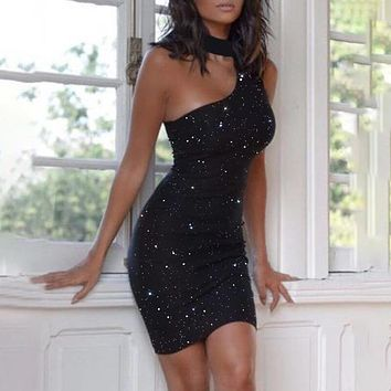 Woman Dress Sexy Backless One Shoulder Black Ladies Sequin Glitter Club Outfits For Woman Party Night  Tight Dress