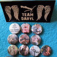 10pc 1 inch TEAM DARYL Pinback Buttons badges flair crossbow norman reedus dixon zombies wings dead