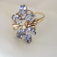 10K Gold Amethyst Cluster Ring / Retro / Size 7 / 3 Grams / Bow Motif / Jewelry / Jewellry / Retro