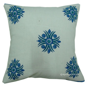 Indian Decorative Hand Block Accent Star Toss Cushion Cover