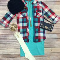 Penny Plaid Top: Pink/Red