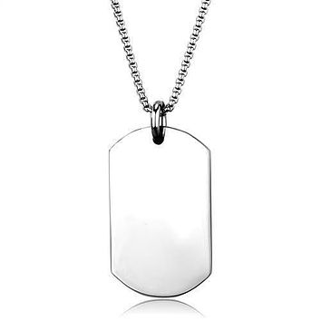 Blank Slate - Stainless Steel Engrave Ready Dog Tag Necklace