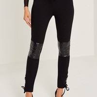 Missguided - Faux Leather Quilted Knee Lace Up Leggings Black