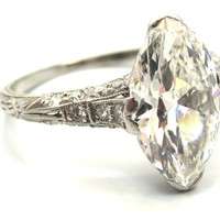 Elegant and Unique Edwardian Era 2.43 Carat Antique Marquise Cut Engagement Ring