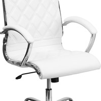 High Back Designer White LeatherSoft Executive Office Chair with Chrome Base