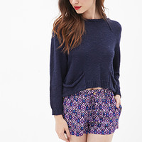 FOREVER 21 Abstract Ikat Woven Shorts Navy/Purple