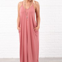 Love You Still V-Neck Maxi Dress (Dusty Rose)