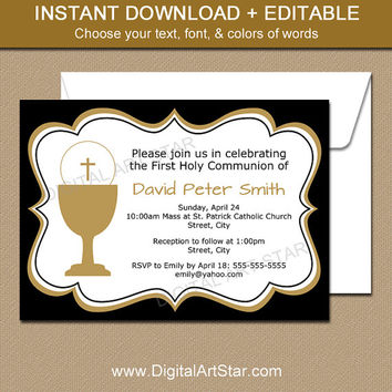 First Communion Invitation Download - First Holy Communion Invitation Boy - First Communion Template in Black and White with Gold Accents
