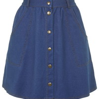 '70s Wash Button Front Skirt - Topshop