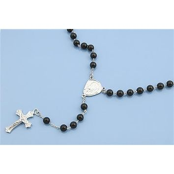 Italian Sterling Silver & Natural Black Onyx Rosary Necklace Prayer Pendant