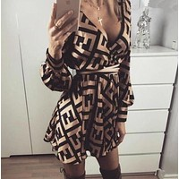 shosouvenir FENDI Women Retro Long Sleeve Dress