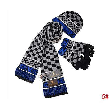 Louis Vuitton LV New Popular Women Men Plaid Pattern Warm Knit Hat Cap Scarf Gloves Set Three Piece 5# Black Grey Blue I-AJIN-BCYJSH