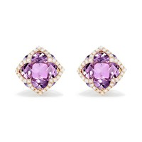 Effy 14K Rose Gold Amethyst and Diamond Stud Earrings, 6.56 TCW - Earrings - Women