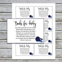 Bring a Book Instead of a Card | Book Request | Printable Boy Baby Shower Invitation Insert (v40t) Whale Baby Shower | Instant Download