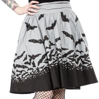 Sourpuss Black & Gray Spooksville Bats Swing Skirt