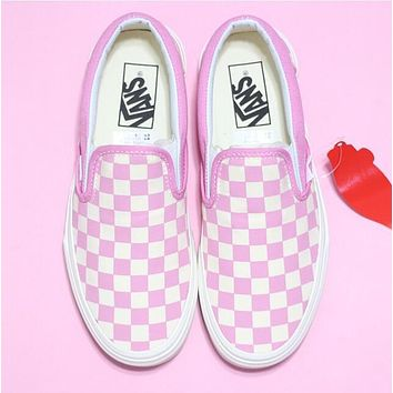 Vans Trending Women Men Stylish Slip-On Old Skool Pink White Checkerboard Canvas Sneakers Sport Shoes I-A36H-MY