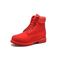 Timberland 10061 Leather Lace-Up Boot Men Women Shoes Red