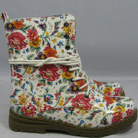 Pretty & Dangerous Ivory Floral Military Combat Boots