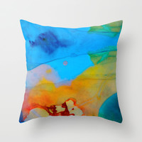 The Right Path - Colorful Abstract Art By Sharon Cummings Throw Pillow by Sharon Cummings