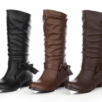 Casual Chunky Heel Women's High Boots With Bowknot and Soild Color Design