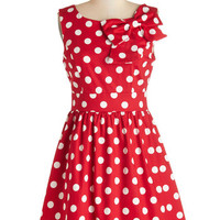 ModCloth Vintage Inspired Mid-length Sleeveless A-line The Pennsylvania Polka Dress in Ruby Dots