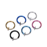 6 Colors 2pcs Unisex Tongue Ring Goth Punk Clip On Fake Piercing Body Nose Lip Rings Hoop Ear Tongue Ring 11mm Low Price
