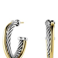 Women's David Yurman 'Crossover' Small Hoop Earrings with Gold