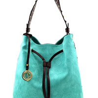 Bucket Hobo Bag with Nailhead Detail, Turquoise or Black