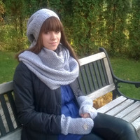 Winter Set for Women/ Women Hat and Scarf and Mittens/ Knitted Warm Set/ Knitted Hat/ Winter Hat/ Warm Scarf Tube