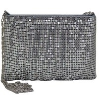 Mesh Purses-Silver Mesh Clutch Style Evening Bag